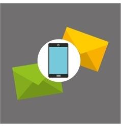 Smartphone two envelope message design vector