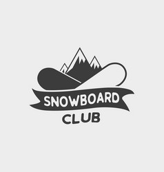 snowboard club logo label or badge template vector image
