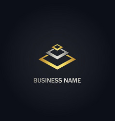 square layer geometry company gold logo vector image