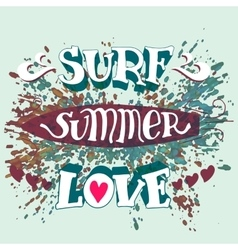 Surf summer love hand lettering vector image