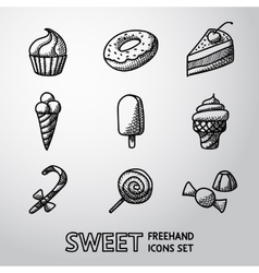 Sweet handdrawn icons set with - cupcake donut vector image