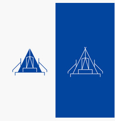 Tent camping camp campsite outdoor line and glyph vector