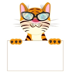 Tiger with poster vector