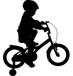 toddler boy riding bicycle high quality silhouette vector image