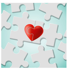 True love concept with pieces of red heart puzzle vector