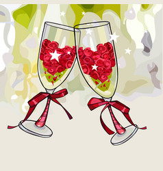 two cartoon anniversary wine glasses filled with vector image