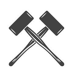 Two crossed big engineers hammers mallets spall vector image