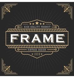 Vintage line frame design for label vector image