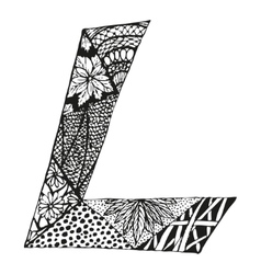 Vintage monogram l doodle alphabet character vector