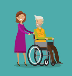 volunteer or nurse on walk with disabled elderly vector image