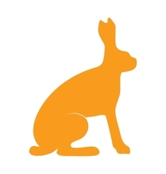 Wild hare rabbit animal flat silhouette vector