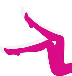 Woman pink stockings on long legs isolated on vector image