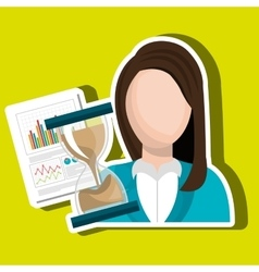 Woman with hourglass and statistics isolated icon vector