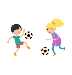 Young child boy and girl playing football vector