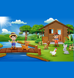 Young farmers activities with animals in the park vector