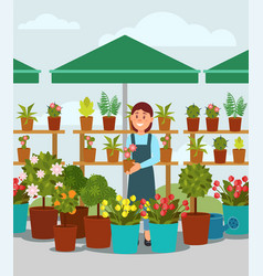 Young woman selling flowers in street market stall vector