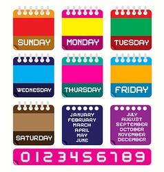 Calendar set retro colorful paper calendars vector