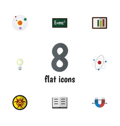 Flat icon knowledge set of lightbulb theory of vector