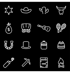line wild west icon set vector image