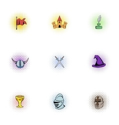 Medieval armor icons set pop-art style vector