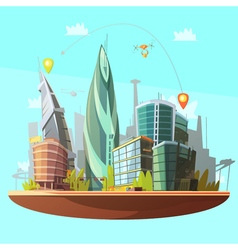 Modern City Downtown Concept Poster Print vector image