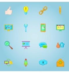 SEO optimization icons set cartoon style vector image vector image