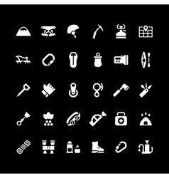 Set icons of camping and mountaineering vector image