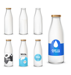 set of icons glass bottles with a milk in a vector image vector image