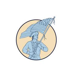 american patriot waving usa flag circle drawing vector image
