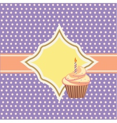 background with cupcake and decoration vector image vector image