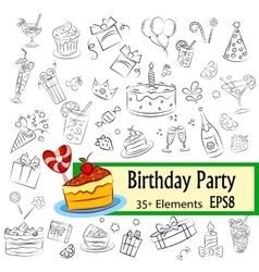 Birthday Party Sketch Set vector image vector image