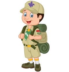 Cartoon little boy scout vector image