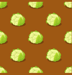 cauliflower isolated on brown seamless pattern vector image
