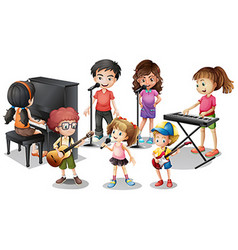 Children playing instruments and sing vector image