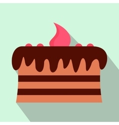 Chocolate cake flat icon vector image