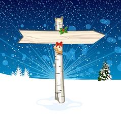 Christmas wooden arrow sign vector image vector image