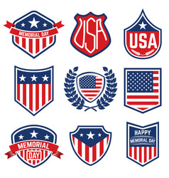 set of the emblems with american flag memorial day vector image