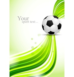 Soccer ball on green wavy background vector image