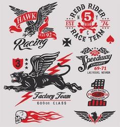 Vintage racing insignia graphics set vector image vector image