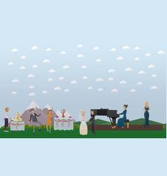 wedding celebration in flat vector image vector image