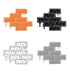 Brick wall icon in cartoon style isolated on white vector