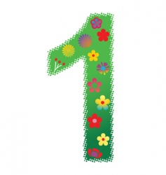 floral number 1 vector image vector image