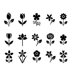 flower set icons vector image vector image