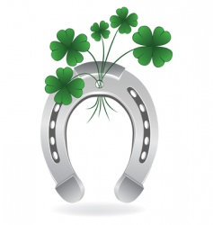 horseshoe and four leaf clover vector image vector image