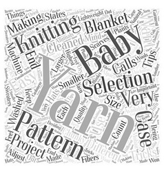 Knitting yarn selection tips and tricks word cloud vector