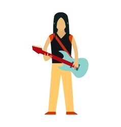 Rock Star cartoon characters with guitar isolated vector image vector image