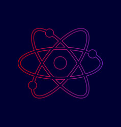 atom sign line icon with vector image vector image
