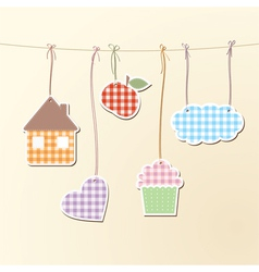 Cute objects on strings vector image vector image
