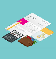 isometric single invoice calculator and credit vector image vector image