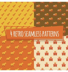 Kids retro seamless patterns with rockets and car vector image